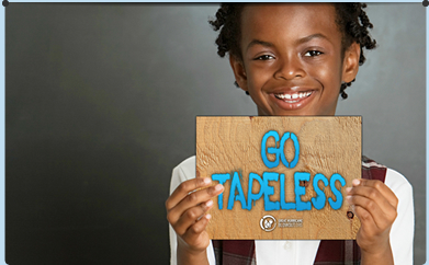 Boy holding a Go Tapeless sign